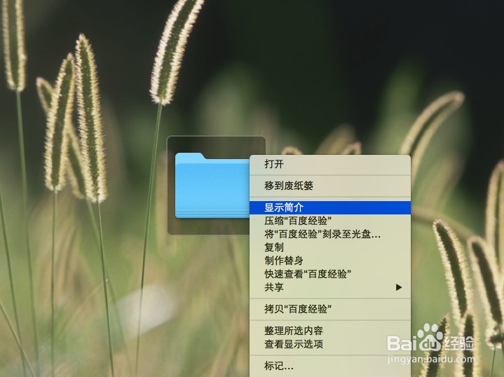 1.下图中的就是我们这篇经验的例子:文件夹百度经验,使用的就是默认图标。  2.右击文件(触控板上按下Control(?)并单击),并点击显示简介。  3.跳出简介窗口,并点击左上角文件图标,图标的四周会发出蓝色光,说明是在编辑状态。  4.先将其简介窗口最小化,我们来选取图片,我们使用的是百度经验的logo。  5.